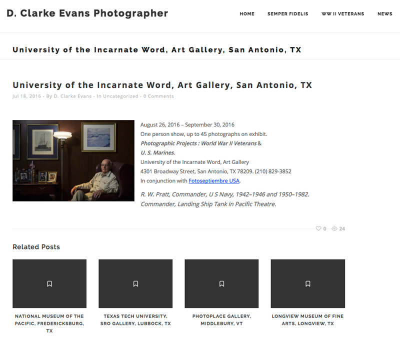 2016-FOTOSEPTIEMBRE-USA_Press-Archives_D-Clarke-Evans_WWII-Veterans-And-Marines-Exhibition_University-Of-The-Incarnate-Word_D-Clarke-Evans-Web-Site-Announcement
