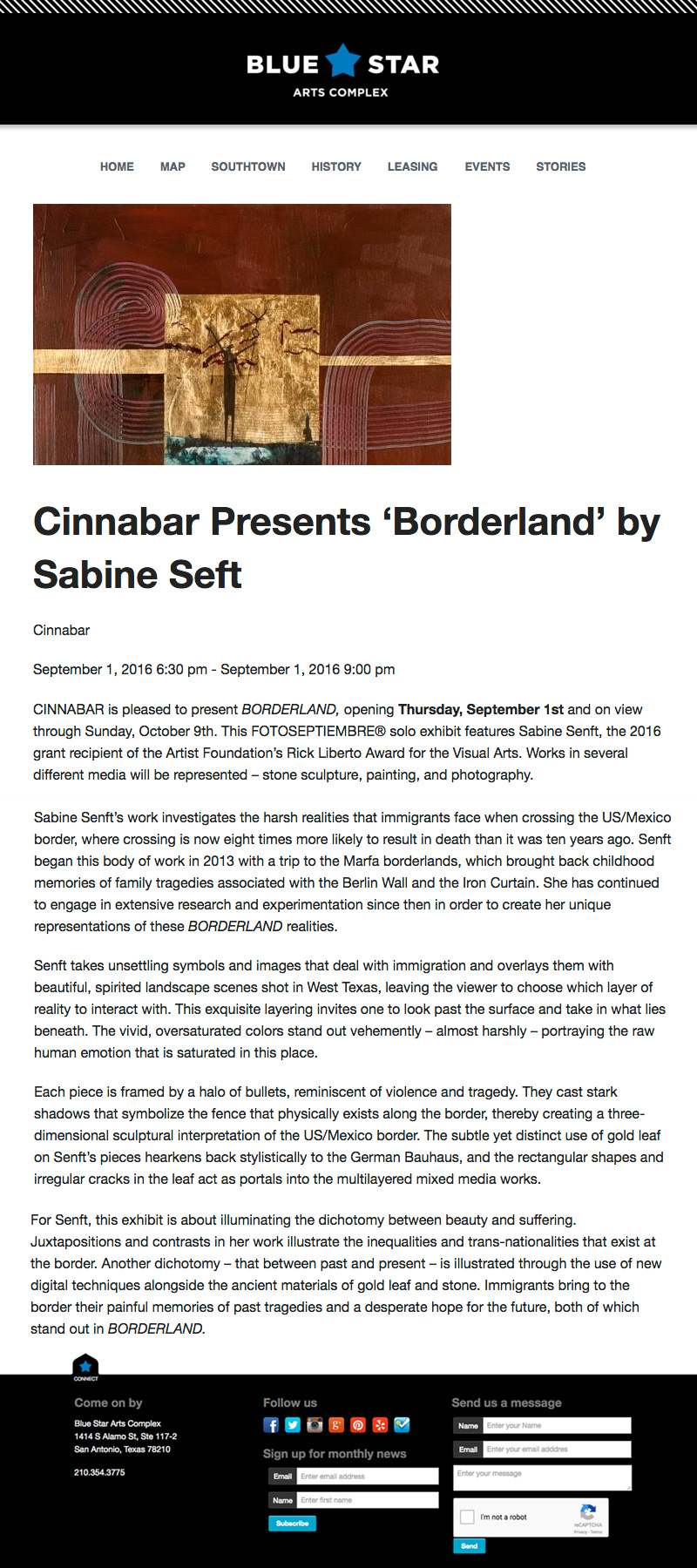 2016-FOTOSEPTIEMBRE-USA_Press-Archives_Sabine-Senft_Borderland-Exhibit_Cinnabar-Art-Gallery_Blue-Star-Arts-Complex-Web-Site