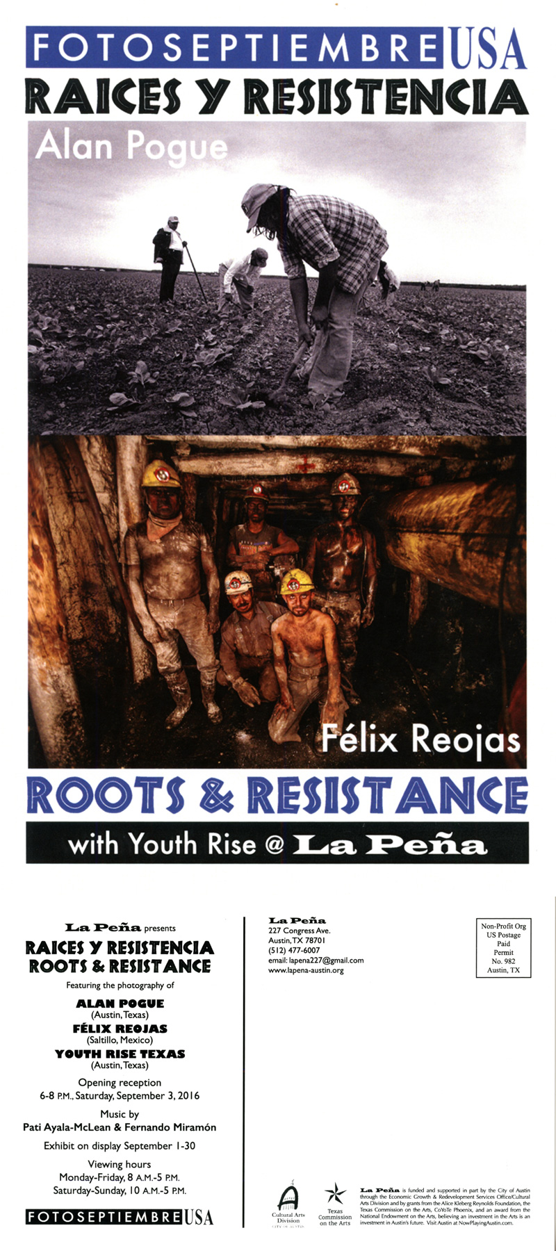 2016-FOTOSEPTIEMBRE-USA_Press-Archives_Raices-Y-Resistencia-Exhibit_La-Peña-Latino-Arts-Organization-Promo-Card